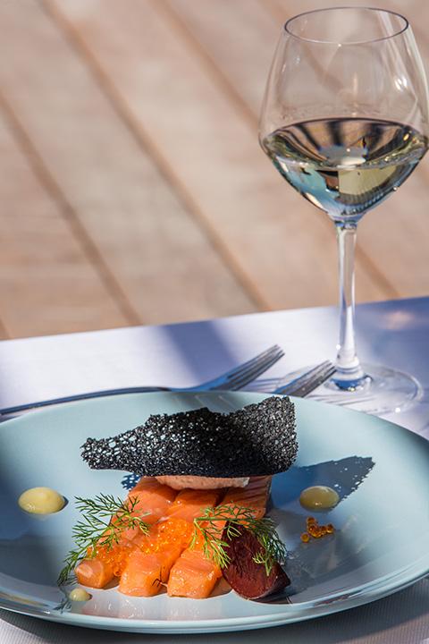 Restaurant Akashon Entree Cuisine Saumon Verre